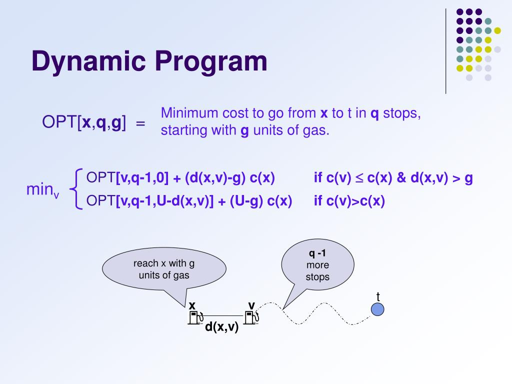 reach x with g units of gas