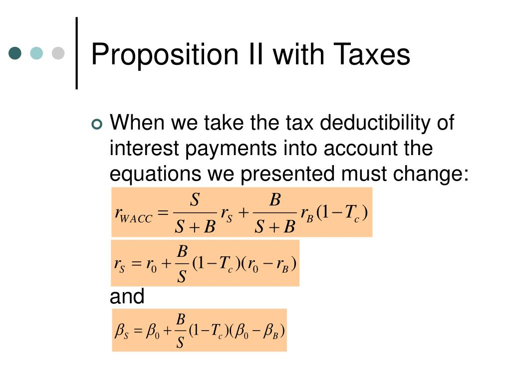 Proposition II with Taxes