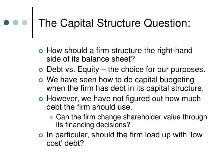 The capital structure question