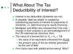 what about the tax deductibility of interest