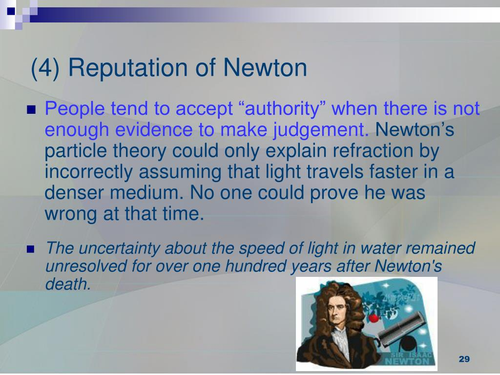 (4) Reputation of Newton