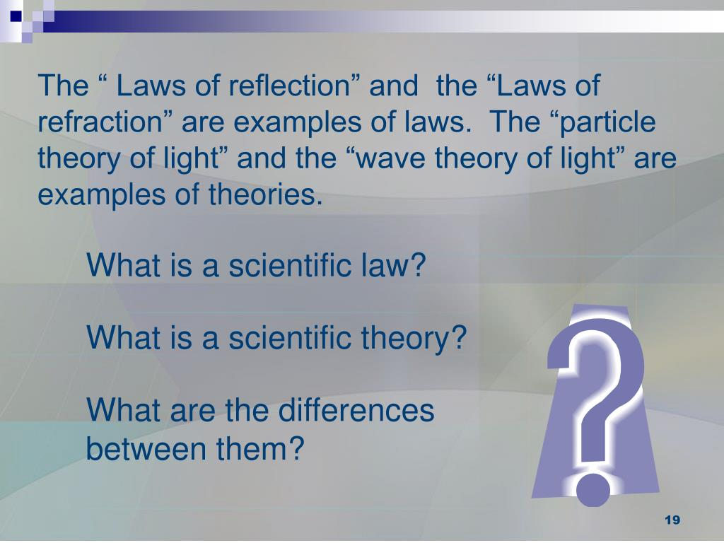 "The "" Laws of reflection"" and  the ""Laws of refraction"" are examples of laws.  The ""particle theory of light"" and the ""wave theory of light"" are examples of theories."