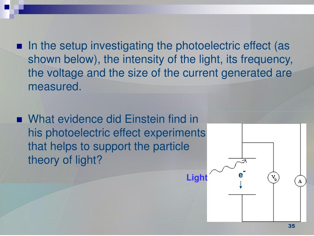 In the setup investigating the photoelectric effect (as shown below), the intensity of the light, its frequency, the voltage and the size of the current generated are measured.