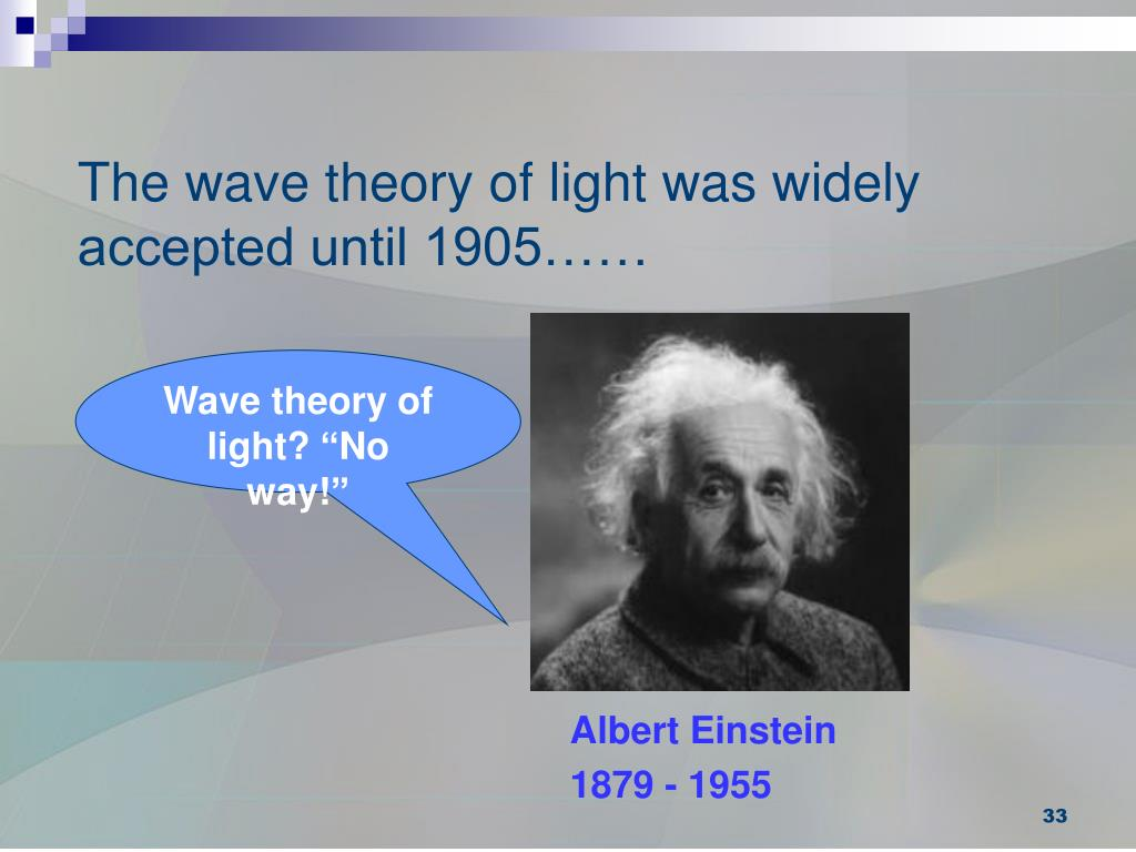 The wave theory of light was widely accepted until 1905……