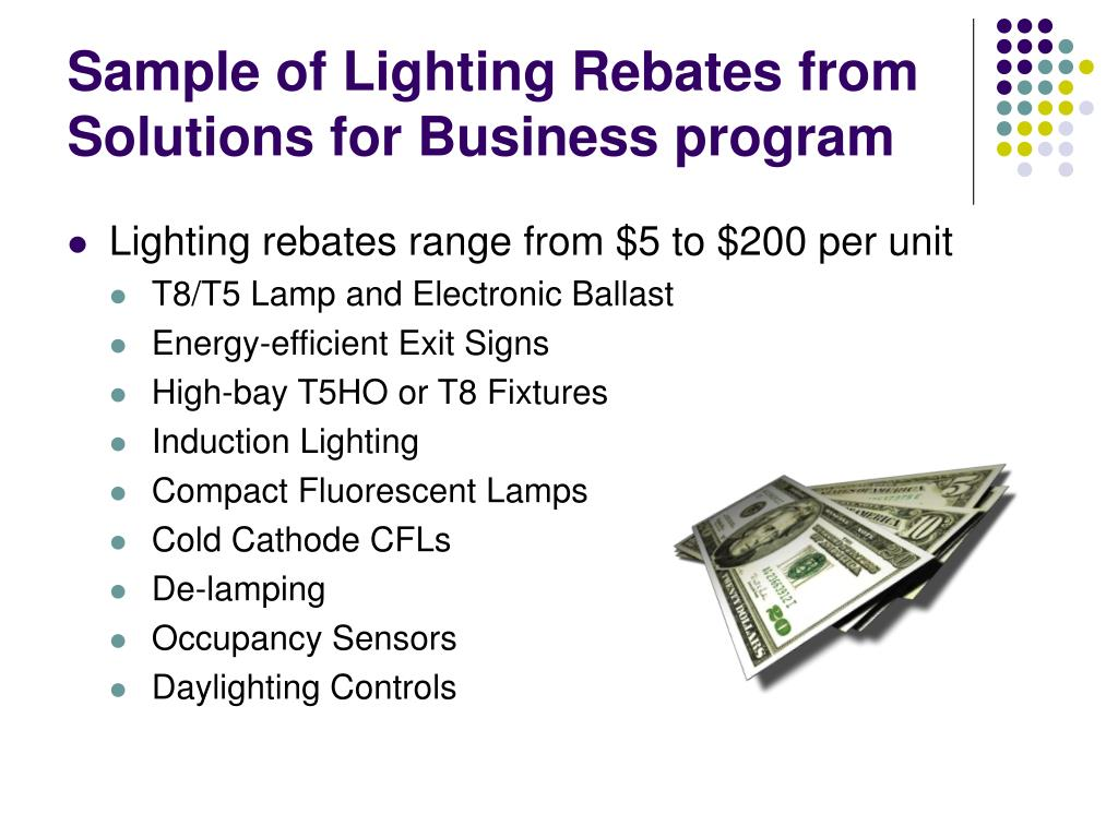 Sample of Lighting Rebates from Solutions for Business program