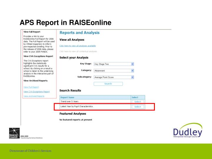 Aps report in raiseonline3