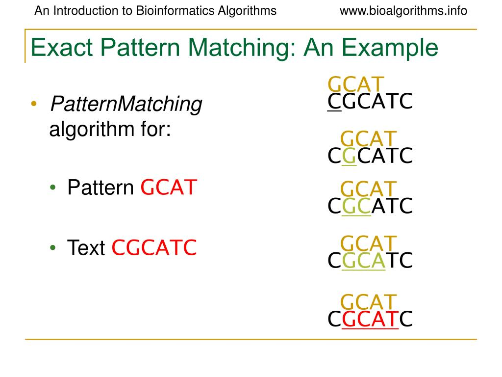 Exact Pattern Matching: An Example