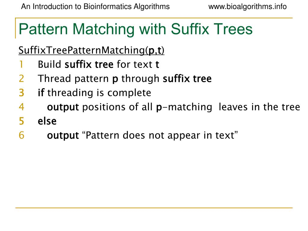 Pattern Matching with Suffix Trees