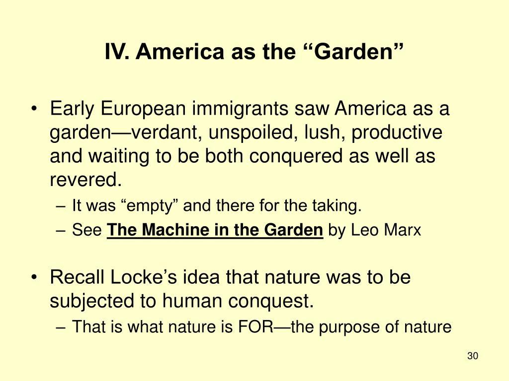 """IV. America as the """"Garden"""""""