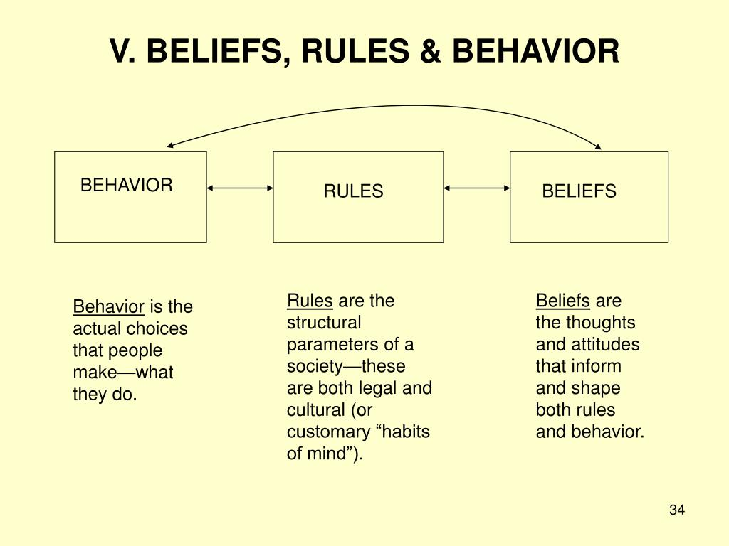 V. BELIEFS, RULES & BEHAVIOR