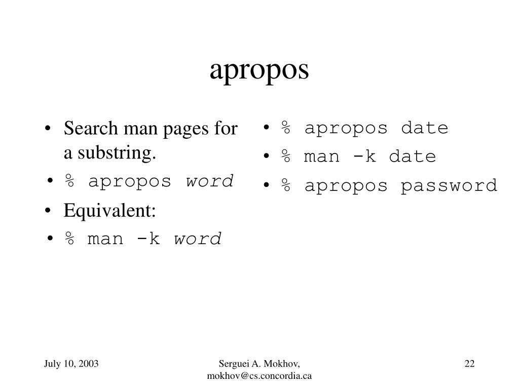 Search man pages for a substring.