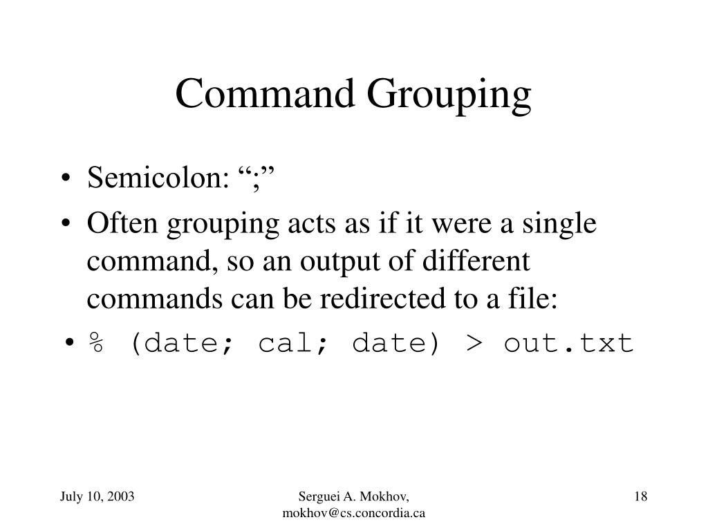 Command Grouping