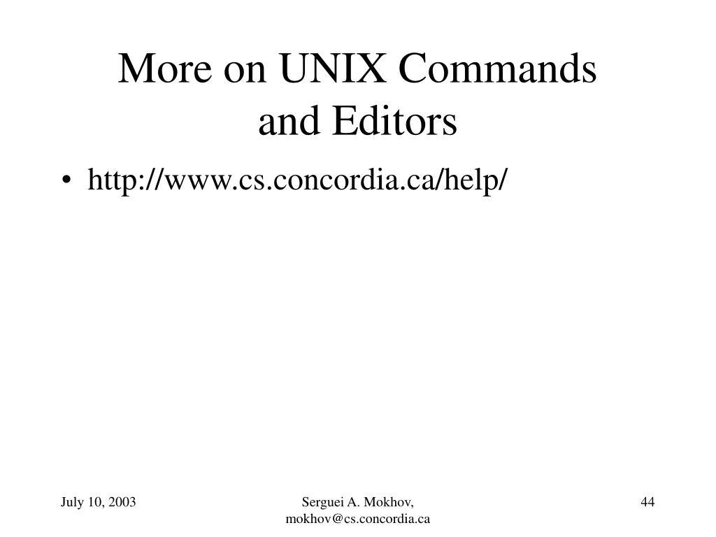More on UNIX Commands