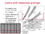 limits with immersed gratings