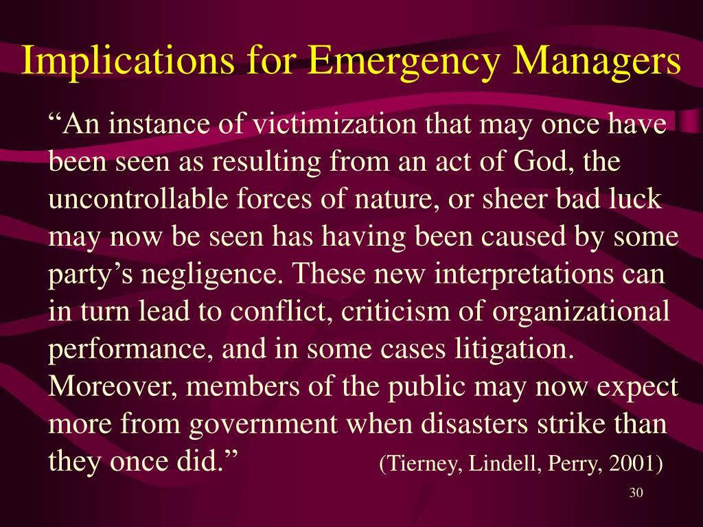 Implications for Emergency Managers