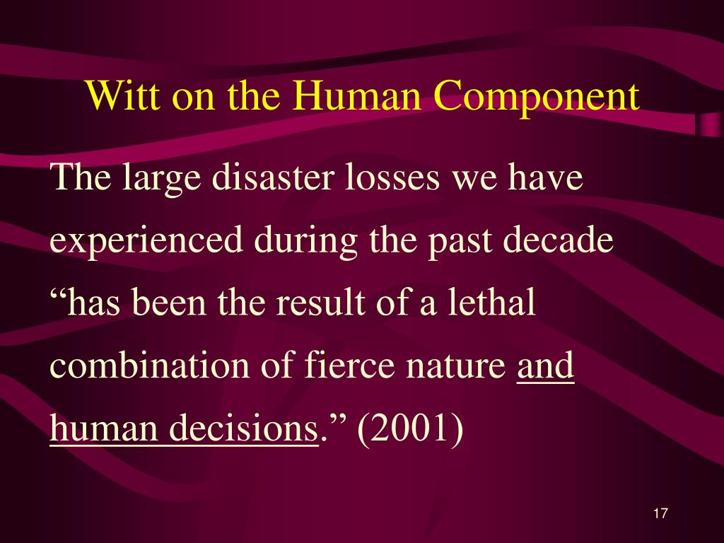 Witt on the Human Component