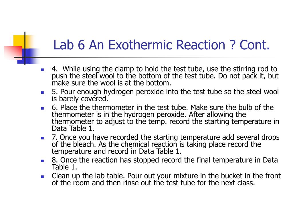 Lab 6 An Exothermic Reaction ? Cont.