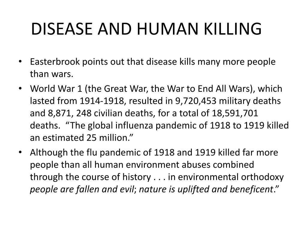 DISEASE AND HUMAN KILLING