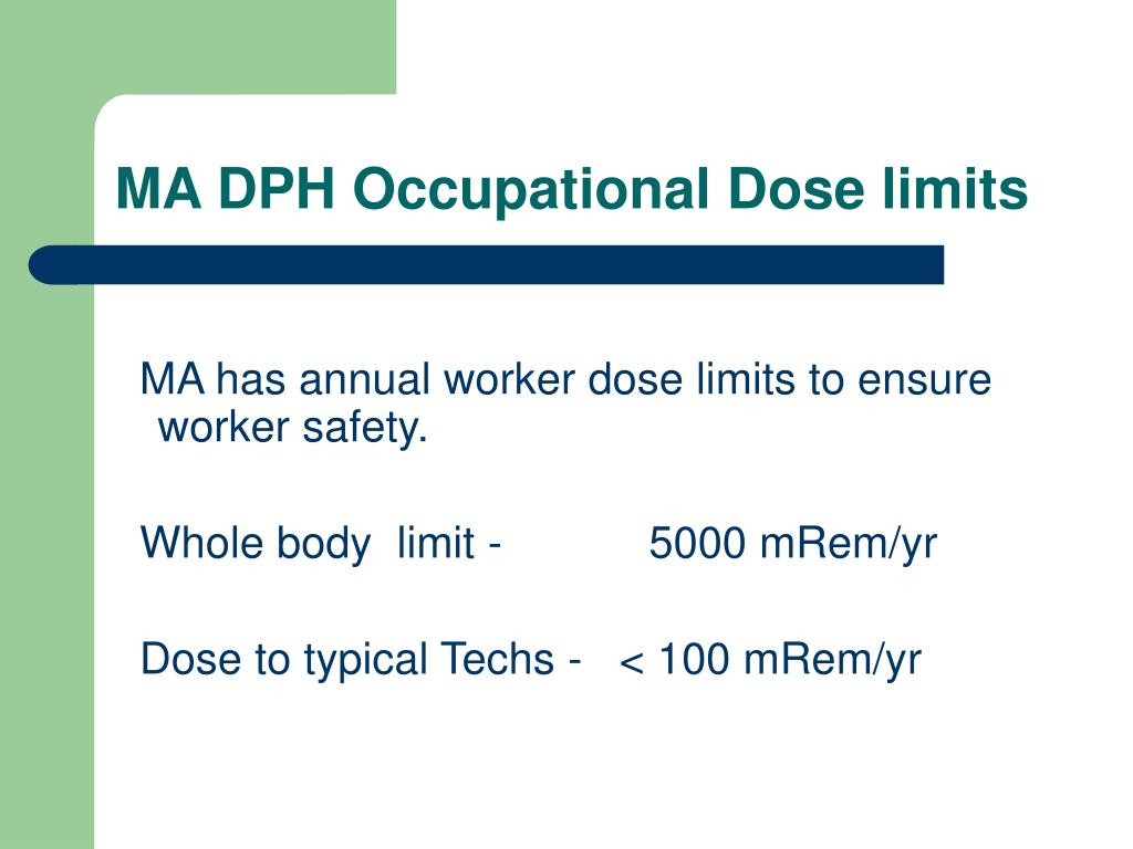 MA DPH Occupational Dose limits