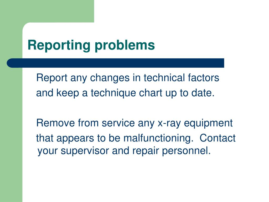 Reporting problems