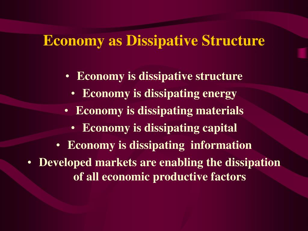 Economy as Dissipative Structure