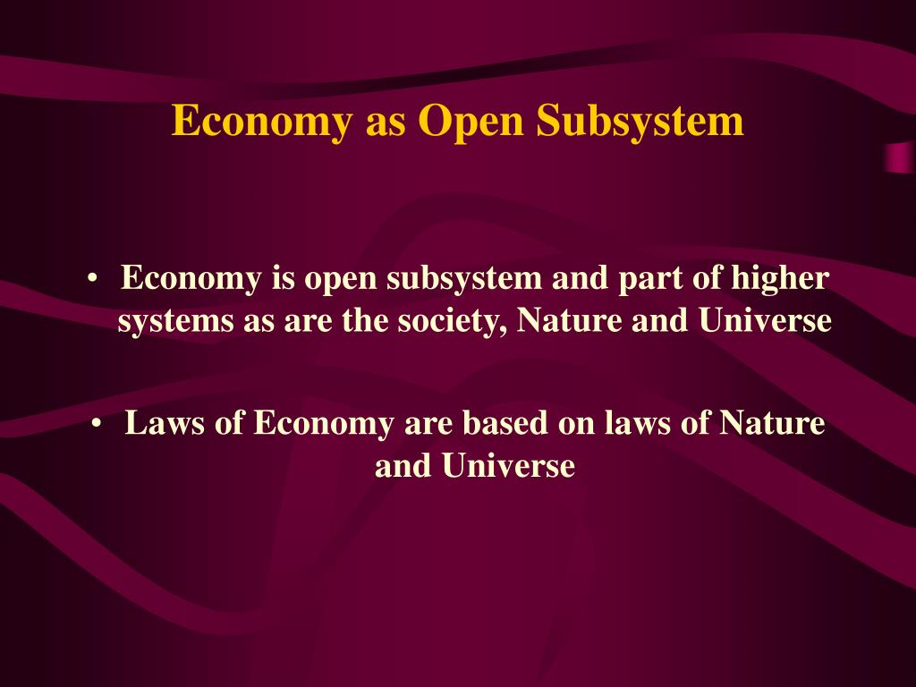 Economy as Open Subsystem