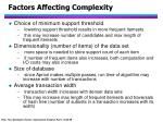 factors affecting complexity