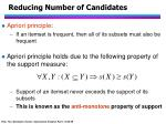 reducing number of candidates