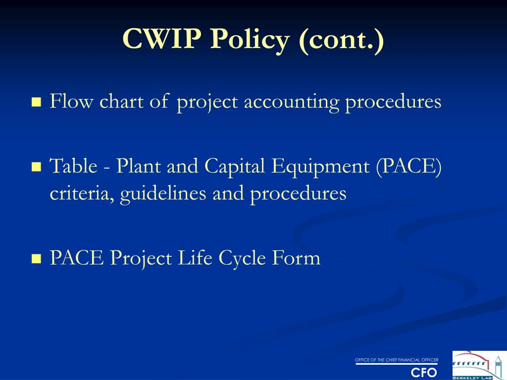 CWIP Policy (cont.)