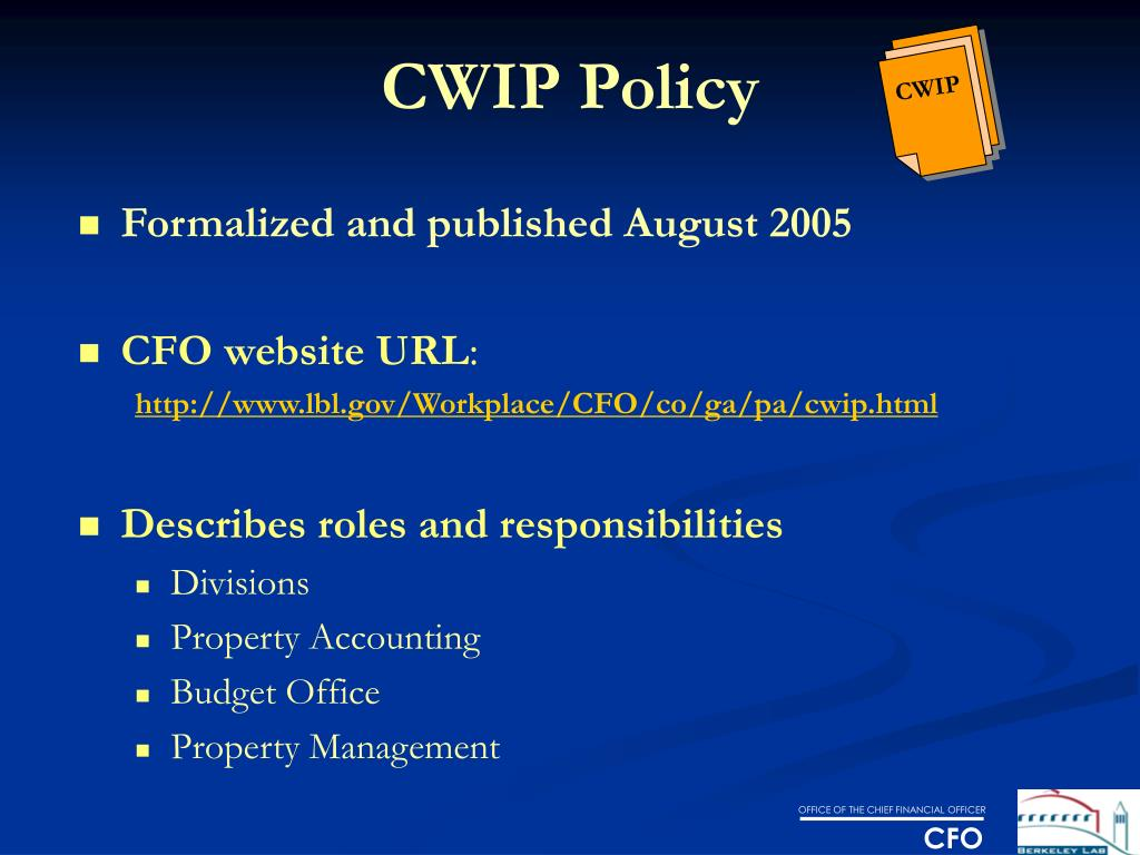 CWIP Policy