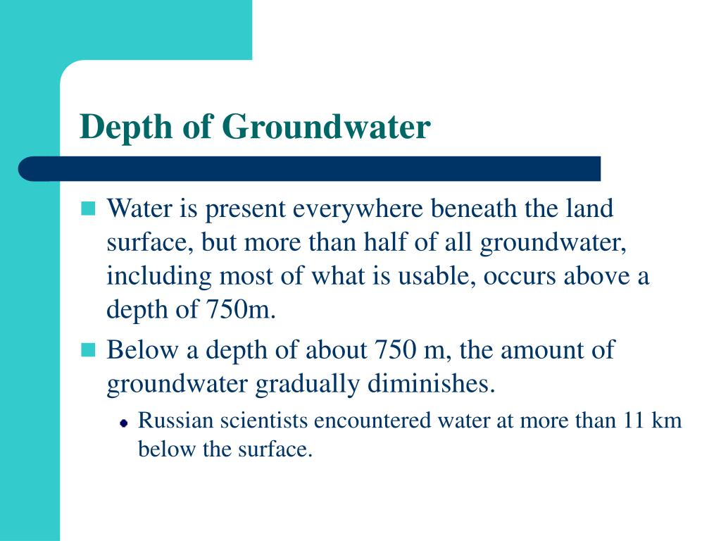 Depth of Groundwater