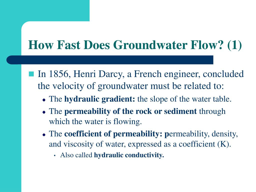 How Fast Does Groundwater Flow? (1)