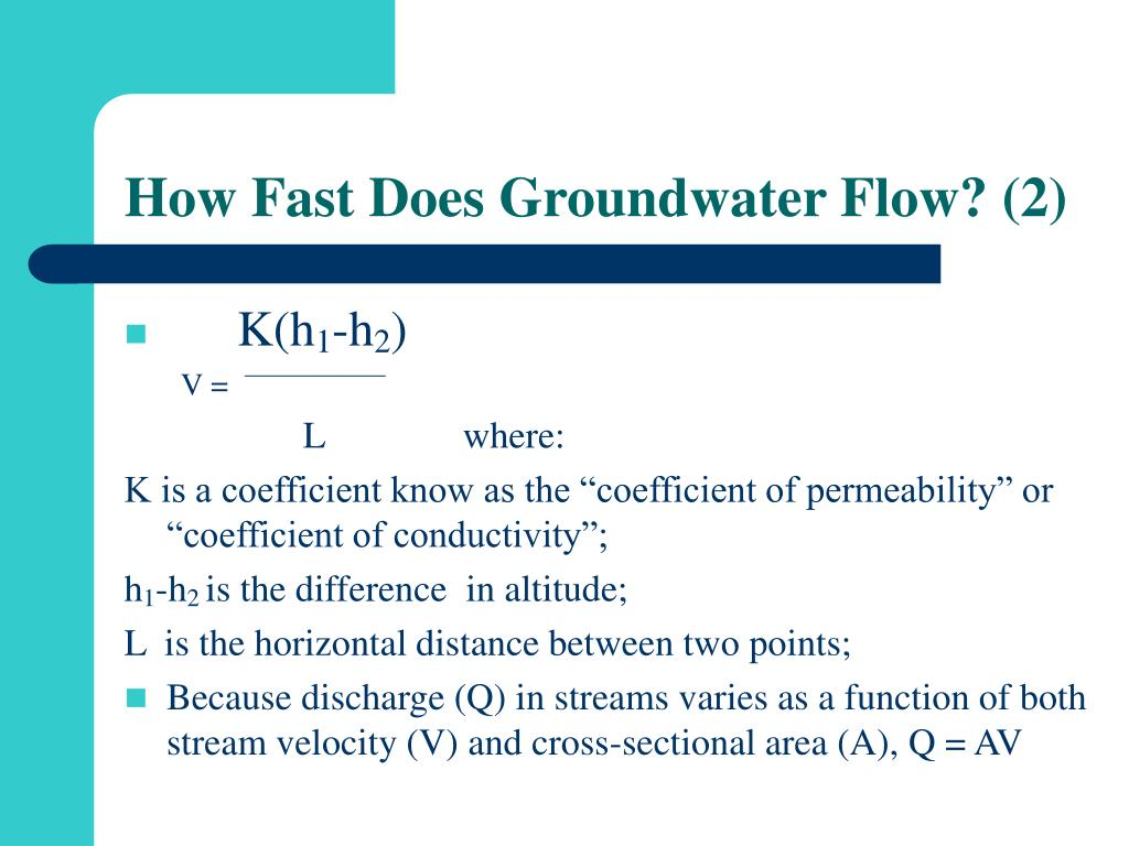 How Fast Does Groundwater Flow? (2)