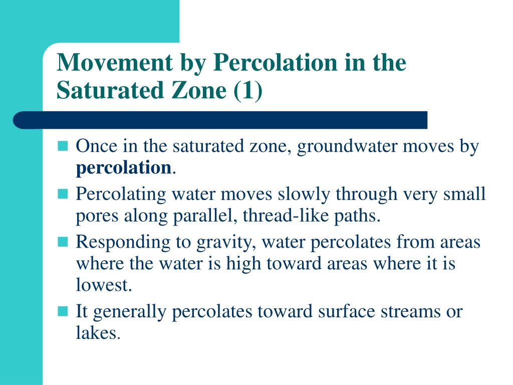 Movement by Percolation in the Saturated Zone (1)