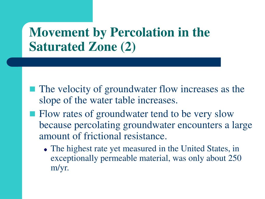 Movement by Percolation in the Saturated Zone (2)
