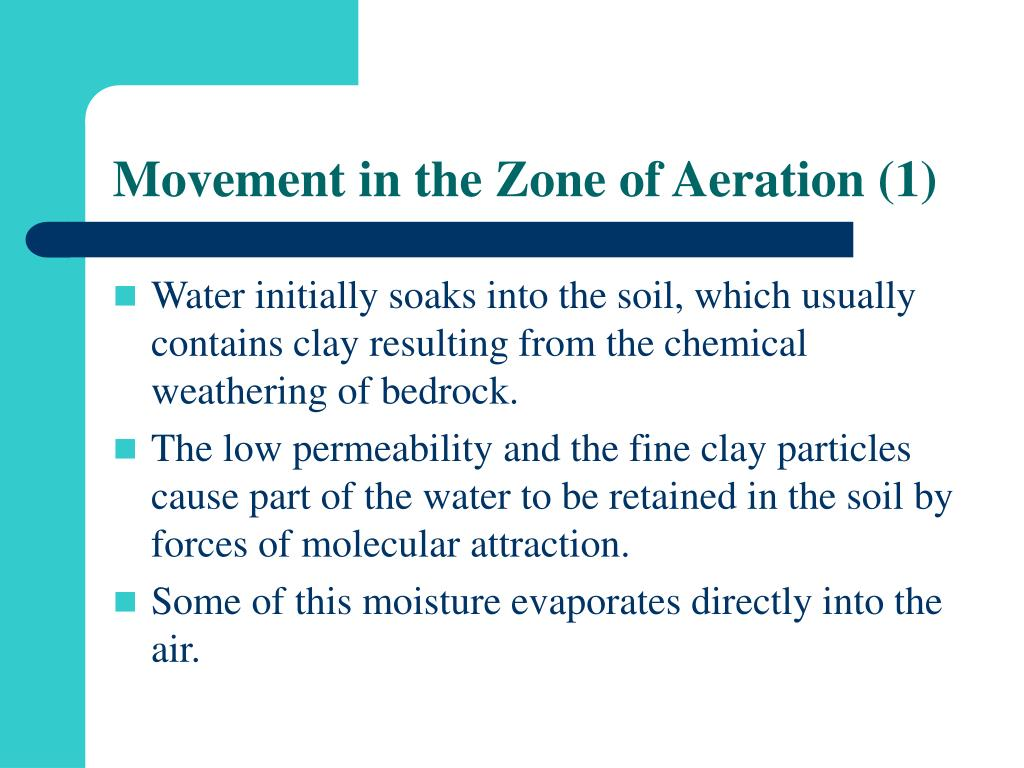 Movement in the Zone of Aeration (1)