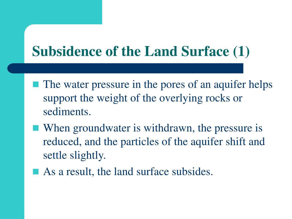 Subsidence of the Land Surface (1)