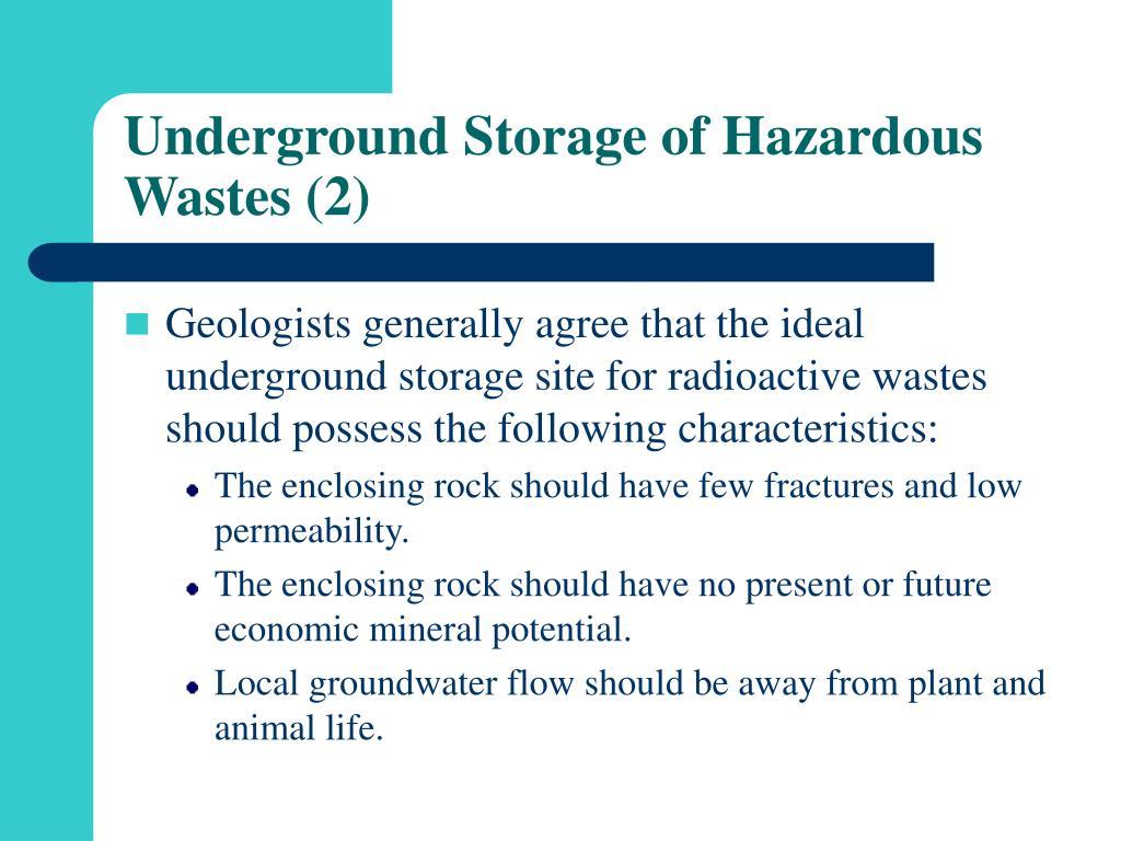 Underground Storage of Hazardous Wastes (2)