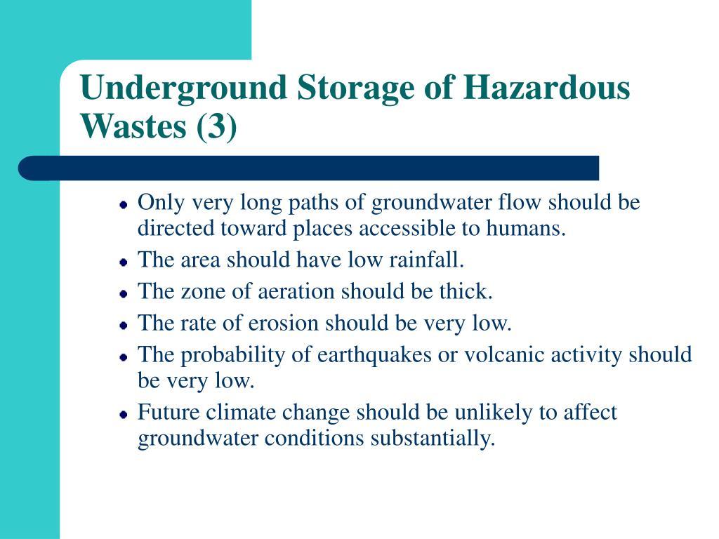 Underground Storage of Hazardous Wastes (3)