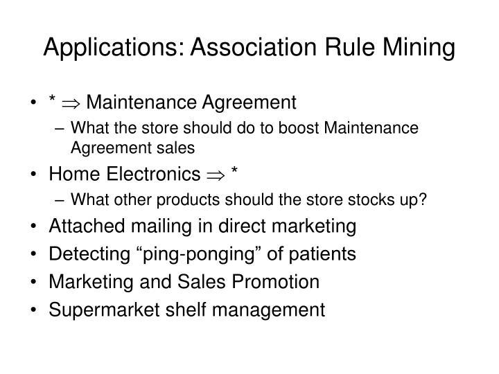 Applications: Association Rule Mining