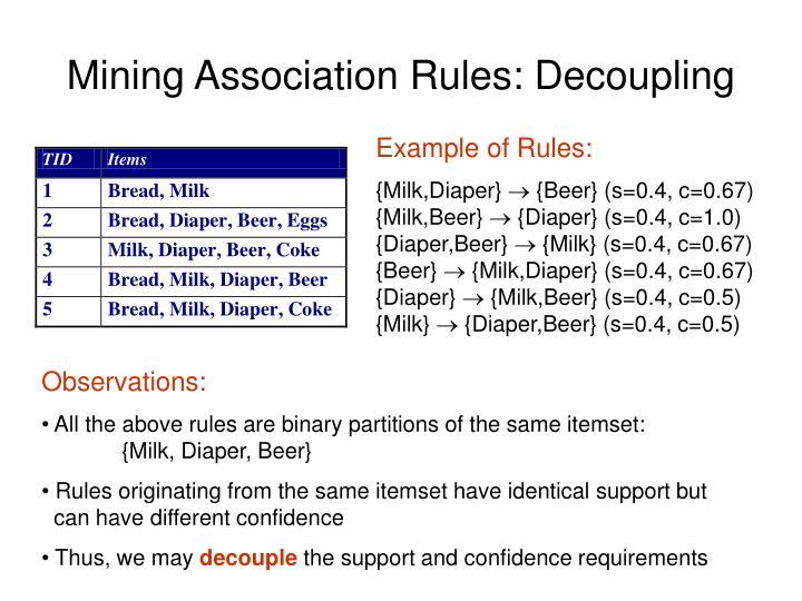 Mining Association Rules: Decoupling