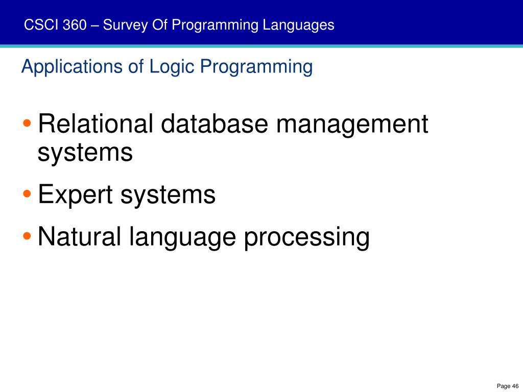 Applications of Logic Programming
