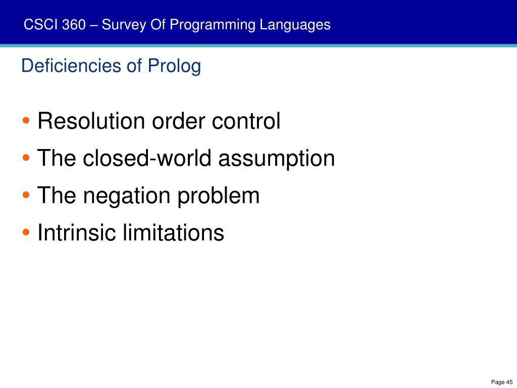 Deficiencies of Prolog