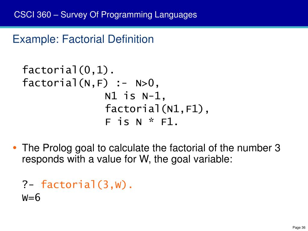 Example: Factorial Definition