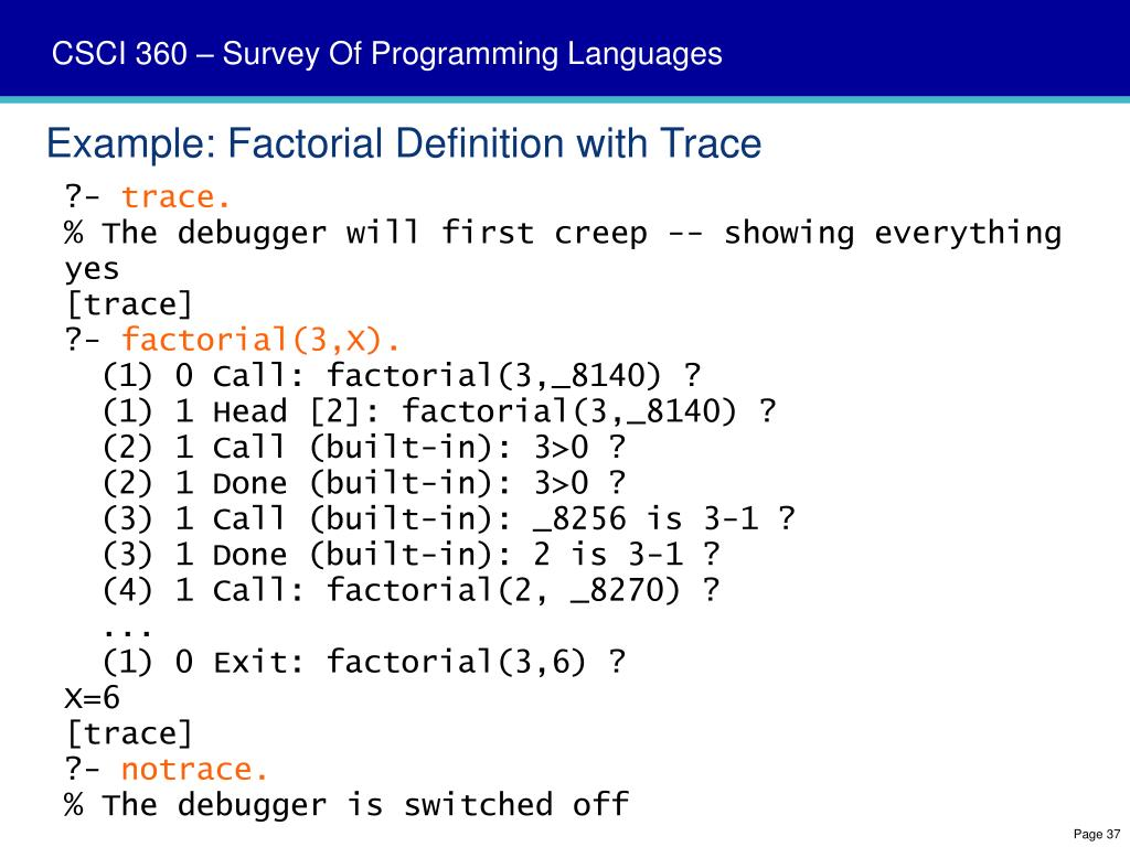 Example: Factorial Definition with Trace