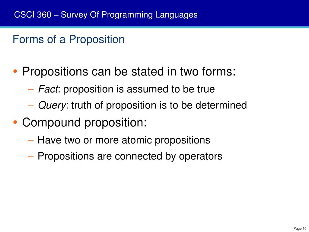 Forms of a Proposition