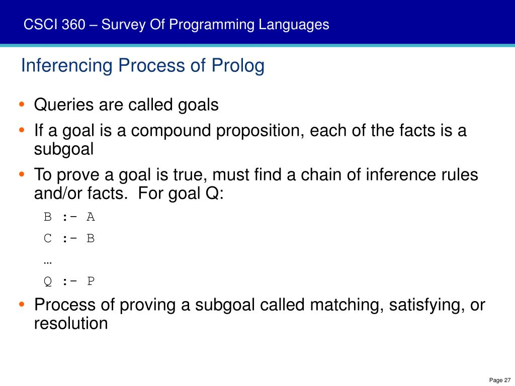 Inferencing Process of Prolog