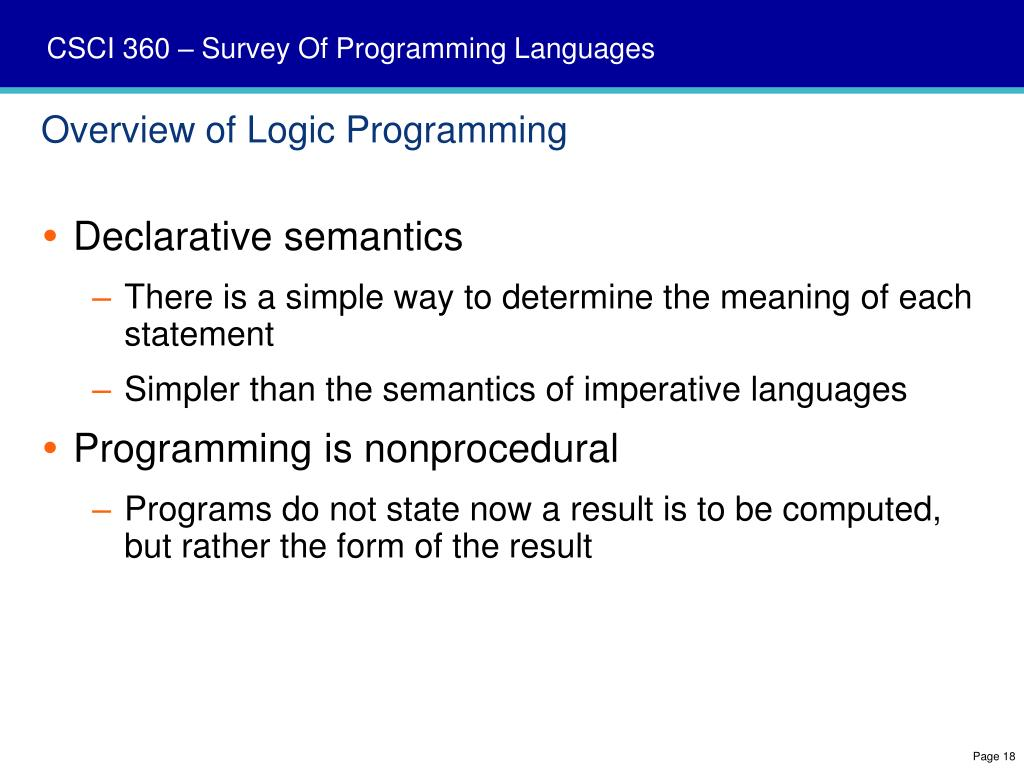 Overview of Logic Programming
