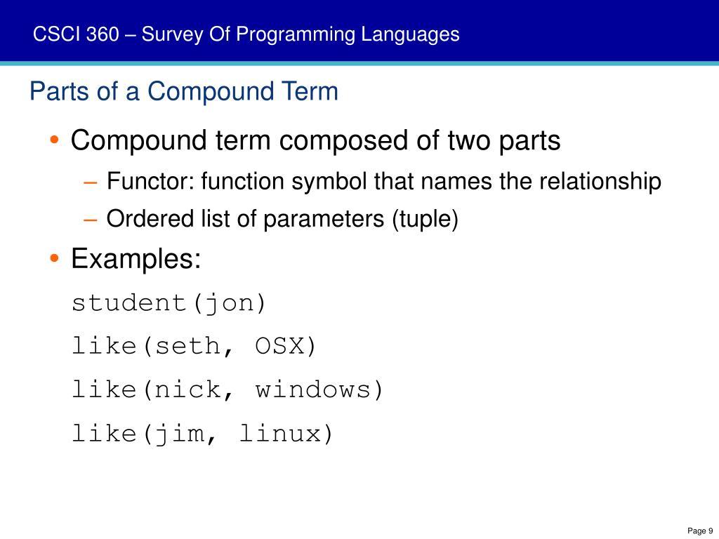 Parts of a Compound Term