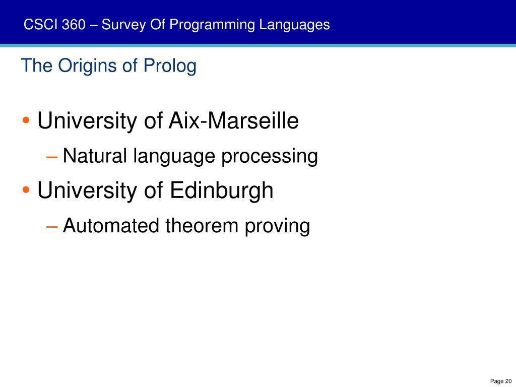 The Origins of Prolog